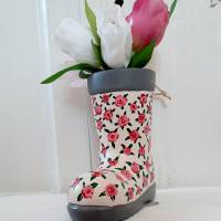 Gummistiefel-Blumentopf aus Keramik-handbemalt Bild 2