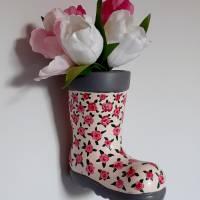 Gummistiefel-Blumentopf aus Keramik-handbemalt Bild 4