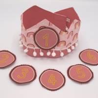 Geburtstagskrone mit wechselbaren Zahlen, Regenbogen und Tasche Bild 1