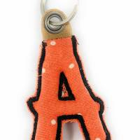 Schlüsselanhänger Buchstabe A, Orange Punkte Bild 1