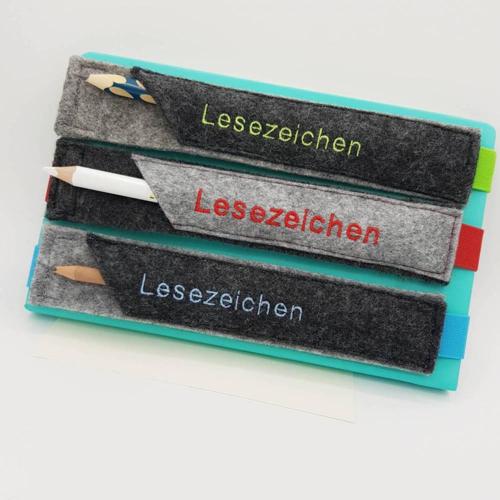 Lesezeichen, Lesezeichen Filz mit Namen personalisiert, Einschulung 2021, Abschiedsgeschenk Grundschule Kita Lehrerin Bild 1