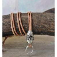 Lederkette für Anhänger Spirale versilbert echtes Leder Wechselkette Anhängerkette Metallperle Großlochperle Bild 1