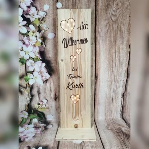 Schild Willkommen Holz Name beleuchtet Geschenk Eingang Klingelschild Holzaufsteller