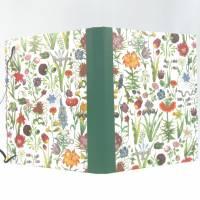 Mappe mit DIN A4 Collegeblock, Block austauschbar, Blumen grün, Verschlussgummi, Spiralblock, Unikat Bild 3