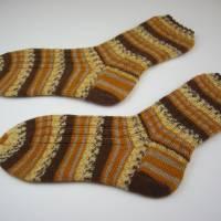 gestrickte Socken Gr 42-43,braun,beige,gelb,Herrensocken 42-43 handgestrickt,Wollsocken gr 42-43 gestrickt,Nr 119 Bild 1