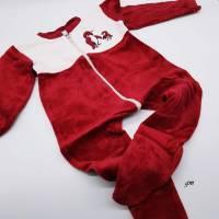 Vintage Baby Strampler in rot, Schlafanzug Babies, Nicki, Größe 86/92, Pinguin, Reißverschluss,  Bild 1