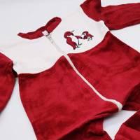 Vintage Baby Strampler in rot, Schlafanzug Babies, Nicki, Größe 86/92, Pinguin, Reißverschluss,  Bild 2