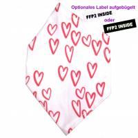 """Überzug für FFP2 Maske """"Hearts"""" - einlagig - 100% Baumwolle - Waschbar - Stoffhülle - Stoffüberzug Bild 1"""