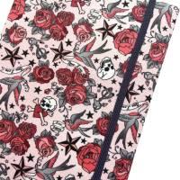 "Notizbuch ""Tattoo Roses"" Hardcover A5 stoffbezogen Rosen Tattoo Fan Geschenkidee Geschenkartikel  Bild 1"