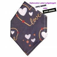 """Überzug für FFP2 Maske """"Love Grau"""" - einlagig - 100% Baumwolle - Waschbar - Stoffhülle - Stoffüberzug Bild 1"""