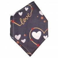 """Überzug für FFP2 Maske """"Love Grau"""" - einlagig - 100% Baumwolle - Waschbar - Stoffhülle - Stoffüberzug Bild 2"""