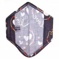 """Überzug für FFP2 Maske """"Love Grau"""" - einlagig - 100% Baumwolle - Waschbar - Stoffhülle - Stoffüberzug Bild 3"""