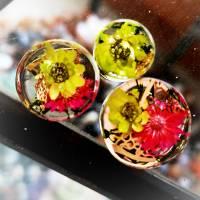 Plug,  Blüte,Moos und Draht, Harz, handmade,Piercing ,Ohrpiercing , 1 Stück Bild 1