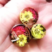Plug,  Blüte,Moos und Draht, Harz, handmade,Piercing ,Ohrpiercing , 1 Stück Bild 2