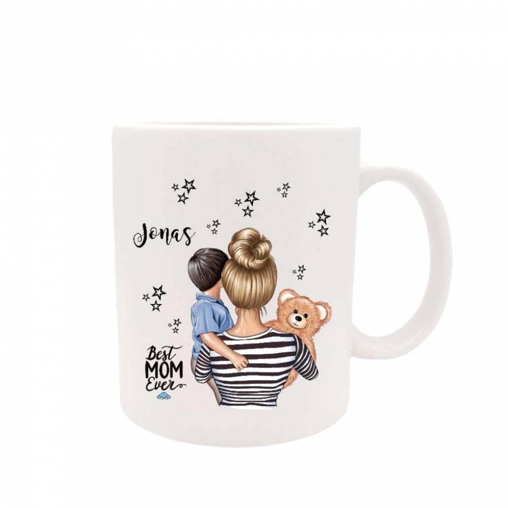 Personalisierte Tasse mit Namen Mutter & Sohn   Bild 1