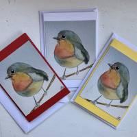 Rotkehlchen Doppelkarten, handgemaltes Aquarell als Druck im 3-er Set und Umschläge. Bild 1
