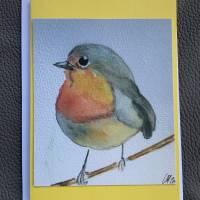 Rotkehlchen Doppelkarten, handgemaltes Aquarell als Druck im 3-er Set und Umschläge. Bild 2