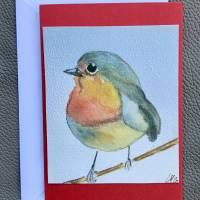 Rotkehlchen Doppelkarten, handgemaltes Aquarell als Druck im 3-er Set und Umschläge. Bild 4