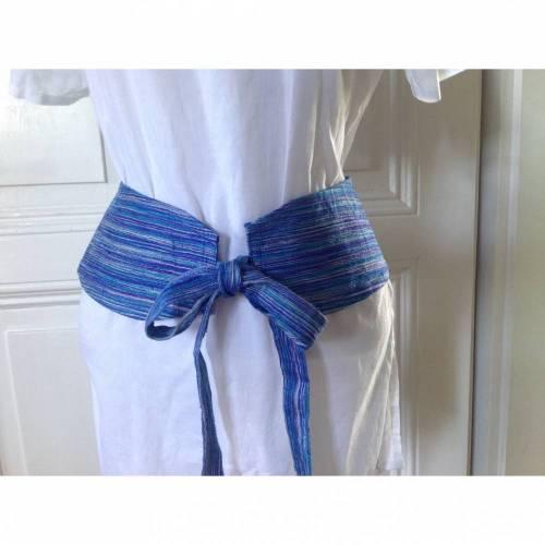 Frühling! Taille zeigen :) Obi,Taillengürtel,Hüftgürtel,Gürtel zum Binden,Gürtel,Seide,blau,Retro.,maritim. NUR UNIKATE