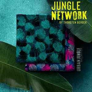 15,90EUR/m Webware luftig leicht Jungle Network Monstera Blätter Thorsten Berger pink dunkelblau Bild 4