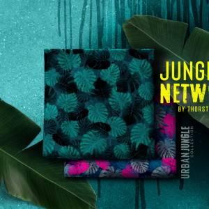 15,90EUR/m Webware luftig leicht Jungle Network Monstera Blätter Thorsten Berger pink dunkelblau Bild 5