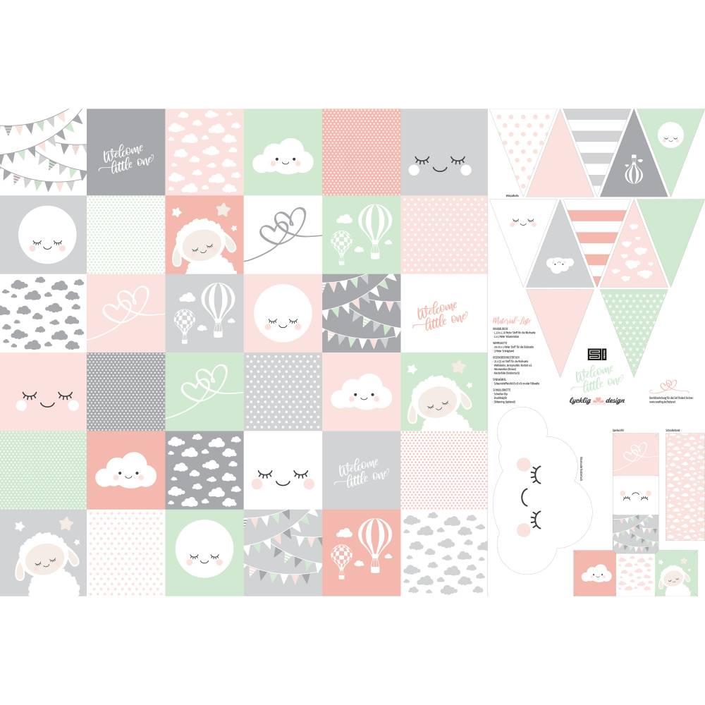 12,90EUR/Stück Webware Panel Welcome little one DIY rosa Bild 1