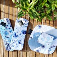 4er Set waschbare Stoffbinden aus Baumwolle nachhaltige Monatshygiene - Zero Waste - Eisblumen Bild 1