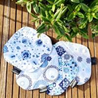 4er Set waschbare Stoffbinden aus Baumwolle nachhaltige Monatshygiene - Zero Waste - Eisblumen Bild 3