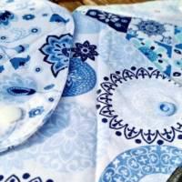 4er Set waschbare Stoffbinden aus Baumwolle nachhaltige Monatshygiene - Zero Waste - Eisblumen Bild 5