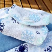 4er Set waschbare Stoffbinden aus Baumwolle nachhaltige Monatshygiene - Zero Waste - Eisblumen Bild 7