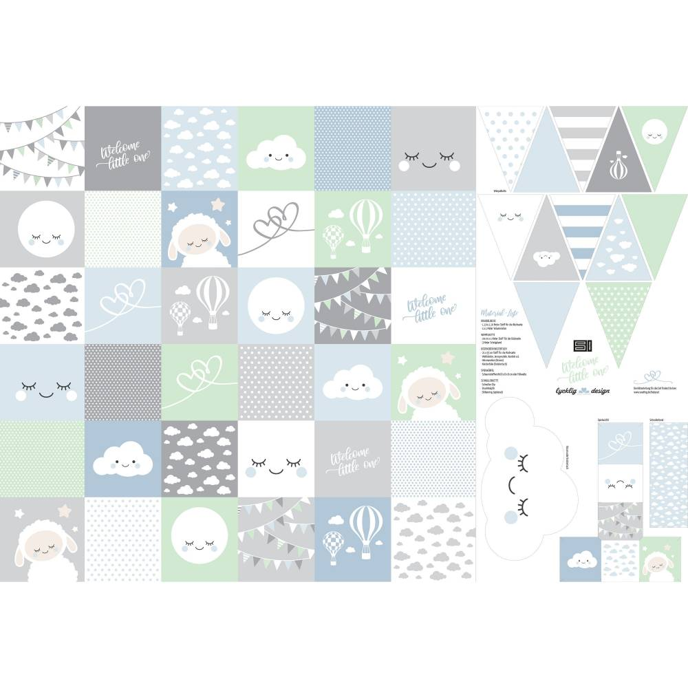12,90EUR/Stück Webware Panel Welcome little one DIY blau Bild 1