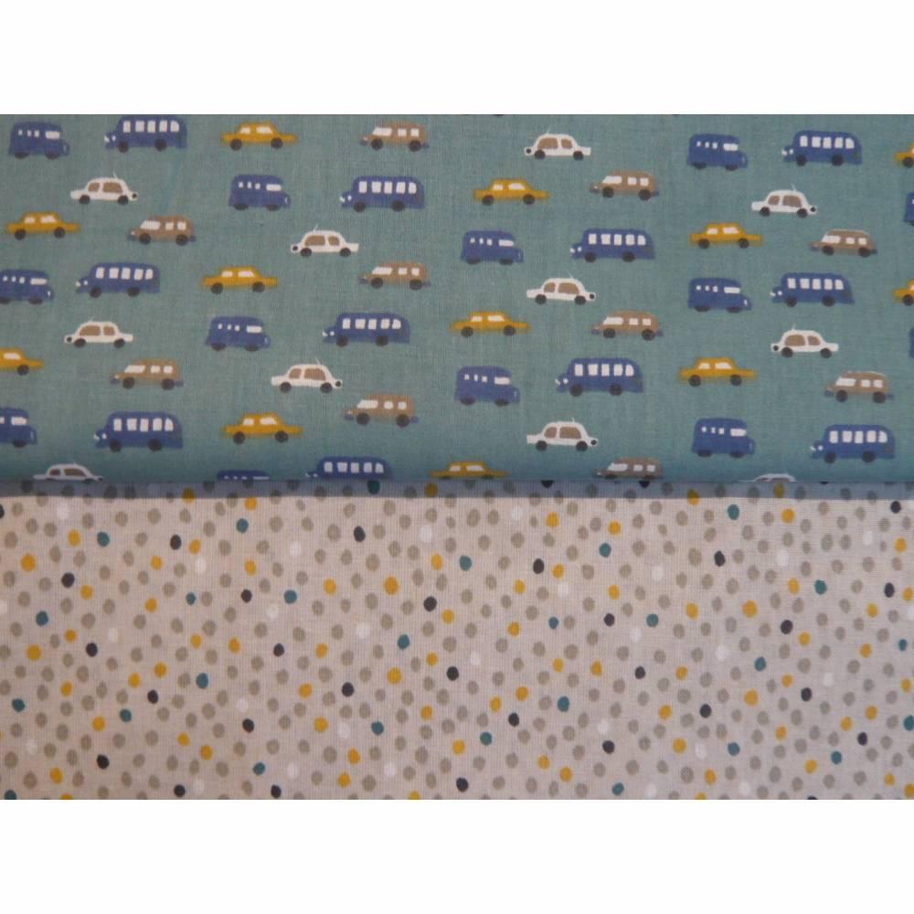 2 x 0,5m Stoffpaket, Autos Luigi, Pünktchen Piselli, Kinderstoff Bild 1
