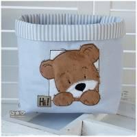 Utensilo hellblau, grau, weiß gemustert mit Teddy Bild 1