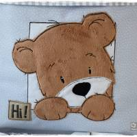 Utensilo hellblau, grau, weiß gemustert mit Teddy Bild 2