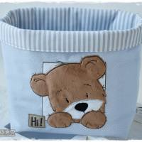 Utensilo hellblau, grau, weiß gemustert mit Teddy Bild 3