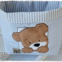 Utensilo hellblau, grau, weiß gemustert mit Teddy Bild 5