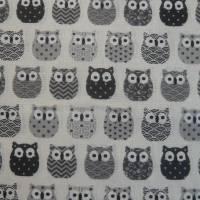 11,00 EUR/m Baumwolle Stoff Mini Hiboux Eulen grau Bild 1