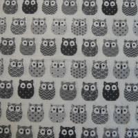 11,00 EUR/m Baumwolle Stoff Mini Hiboux Eulen grau Bild 2