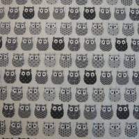 11,00 EUR/m Baumwolle Stoff Mini Hiboux Eulen grau Bild 4