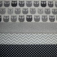 11,00 EUR/m Baumwolle Stoff Mini Hiboux Eulen grau Bild 7