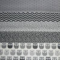 11,00 EUR/m Baumwolle Stoff Mini Hiboux Eulen grau Bild 8
