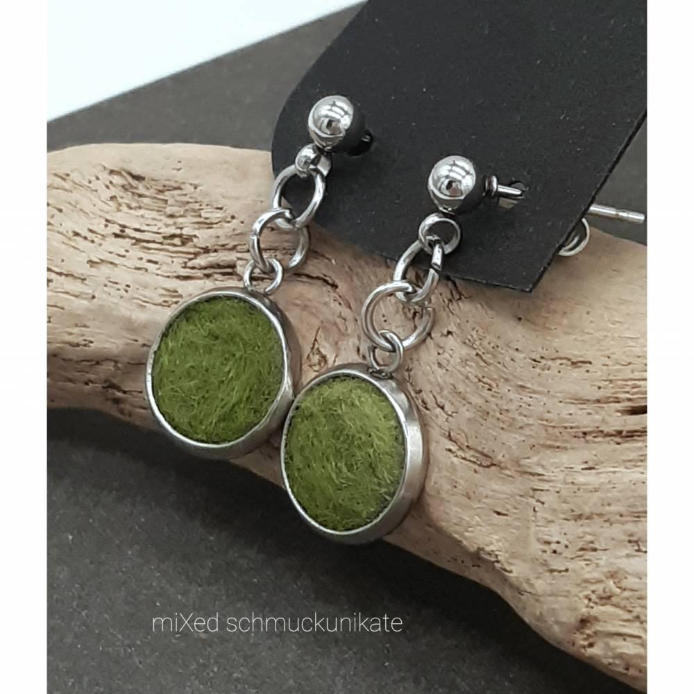 Ohrringe, Filz in Grün Bild 1