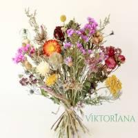 BIO Trockenblumenstrauß *Locker gebunden* NACHHALTIG UMWELTSCHONEND ca. 37cm hoch (Demeter, Rosen von Bioland) Bild 1