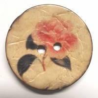 Naturknopf!  Wunderschöner Knopf aus Kokos mit aufgedrucktem Rosenmotiv in dezenten Farben , ca 3cm groß Bild 1