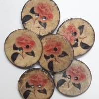 Naturknopf!  Wunderschöner Knopf aus Kokos mit aufgedrucktem Rosenmotiv in dezenten Farben , ca 3cm groß Bild 2