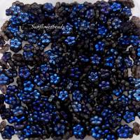 50 flache Blütenperlen, Blümchen, Glasblüten, schwarz azuro Bild 1