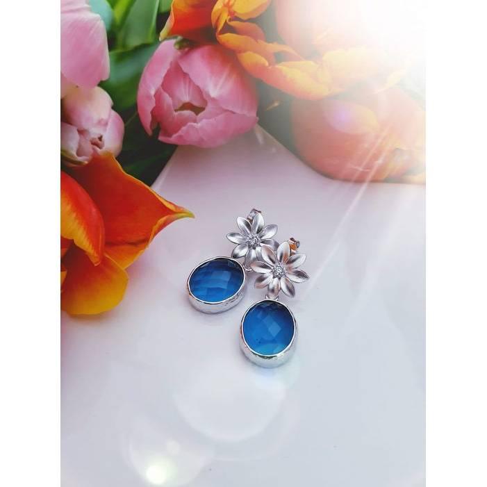 "Blütenohrstecker ""Blauer Mai"" - silberfarben Bild 1"