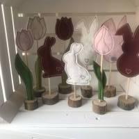 2 er Set Tulpe/Häschen auf Standfuß - Frühjahrsdekoration - Tulpe/Häschen - 100 % Wollfilz Bild 6