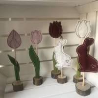 2 er Set Tulpe/Häschen auf Standfuß - Frühjahrsdekoration - Tulpe/Häschen - 100 % Wollfilz Bild 8