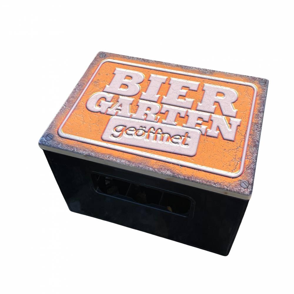 """Bierkastensitz Motiv """"Biergarten geöffnet"""" Bierkastenaufsatz Holz Vintage-Handmade-das Geschenk für alle Fälle Bild 1"""